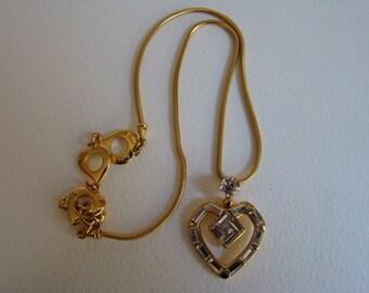 YSL Yves Saint Laurent crystal heart necklace