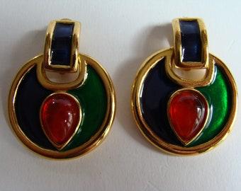 YSL Yves Saint Laurent three colors earrings