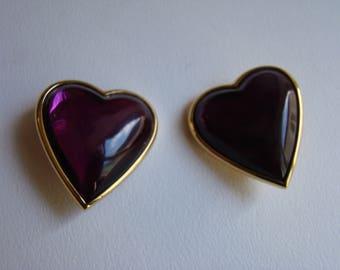 YSL Yves Saint Laurent  purple resin heart earrings