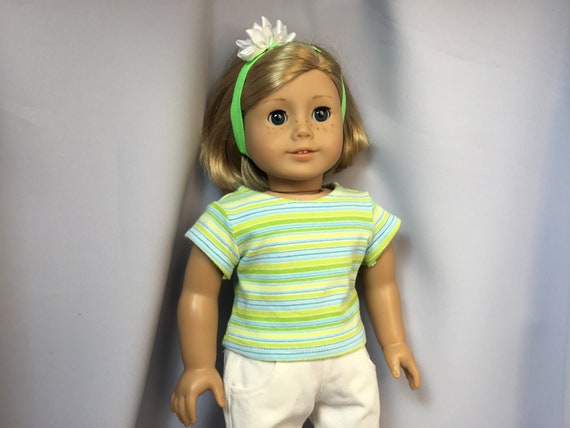 green stripe shorts and coordinating top fits American Girl doll  New
