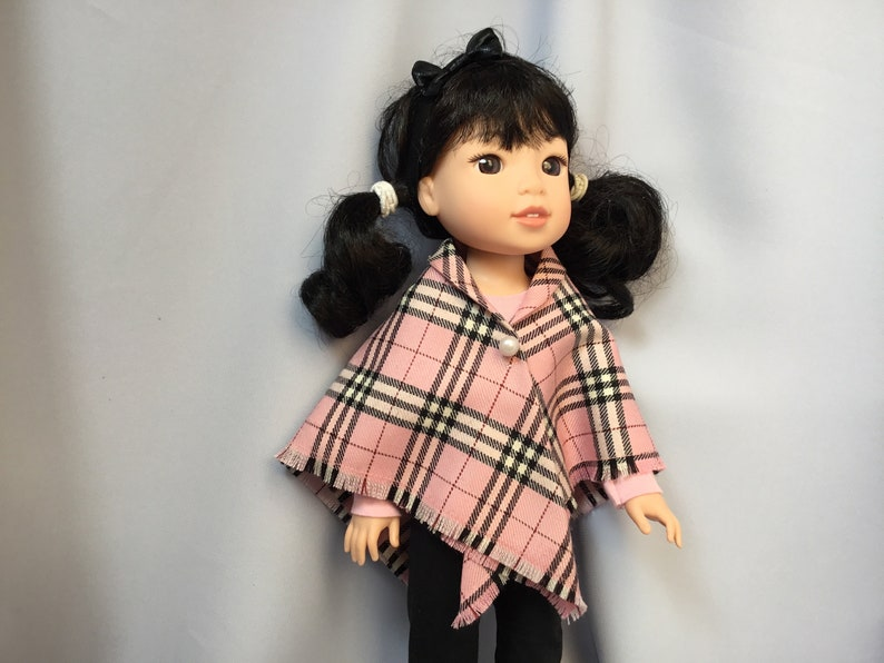 "Pink /& Black Plaid Dress for 14.5/"" American Girl Wellie Wishers Doll Clothes"