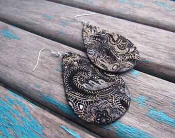 Leather Earrings Metallic Paisley Black Leather Teardrop Earrings