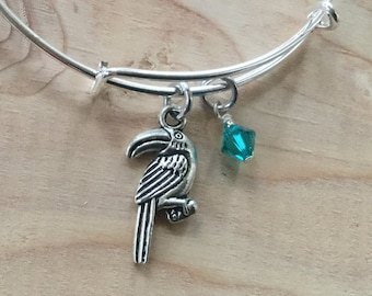 82e223434c SALE- Toucan Charm Bangle Bracelet- Toucan Charm, and accent bead- only 1  available
