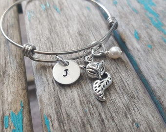 Personalized Fox Bangle Bracelet- Adjustable Bangle Bracelet with Hand-Stamped Initial, Fox, and an accent bead of choice