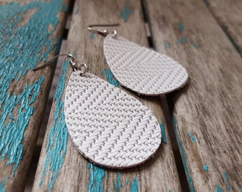 Leather Earrings- Textured White Leather Teardrop Earrings