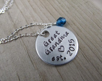 """Great Grandmother's Necklace- Hand-stamped """"Great Grandma est (year of choice)"""" with a stamped heart and an accent bead of your choice"""