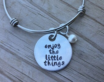 "Enjoy Little Things Bracelet- ""enjoy the little things"" with an accent bead of your choice"