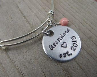 """Grandmother's Bracelet- Hand-stamped """"Grandma est (year of choice)"""" with a stamped heart with an accent bead in your choice of colors"""