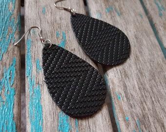 Leather Earrings- Textured Black Leather Teardrop Earrings