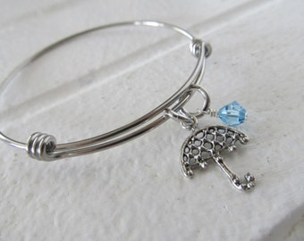 Umbrella Charm Bracelet- Adjustable Bangle Bracelet with Umbrella Charm, and accent bead in your choice of colors