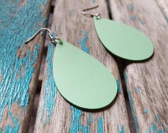 Leather Earrings- Green Leather Teardrop Earrings