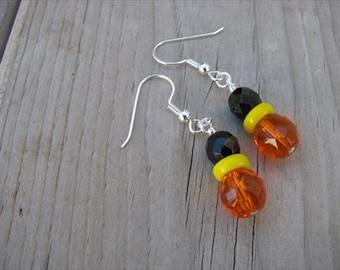 Orange, Black, Yellow Glass Beaded Earrings