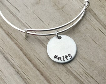 "SALE- Quote Bangle Bracelet- ""unity""- hand-stamped bracelet- only 1 available"