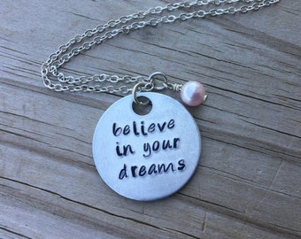 "Believe Inspiration Necklace- ""believe in your dreams"" with an accent bead of your choice- Hand-Stamped Necklace"