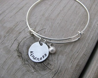 """Inspiration Bracelet- Hand-Stamped """"kindness"""" Bracelet with an accent bead in your choice of colors"""