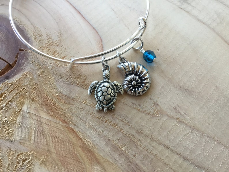 only 1 available Shell Charm Nautical Bangle Bracelet SALE Turtle and accent bead