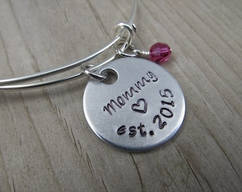 "Mother's Bracelet- Hand-Stamped ""Mommy est (year of choice)"" with a stamped heart with an accent bead in your choice of colors"