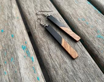 Long Wood and Black Acrylic Earrings