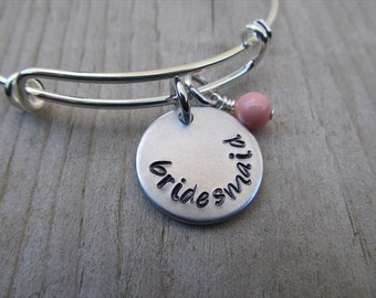 """Bridesmaid Bracelet- Hand-Stamped bracelet """"bridesmaid""""- with an accent bead in your choice of colors- Adjustable Bangle Bracelet"""
