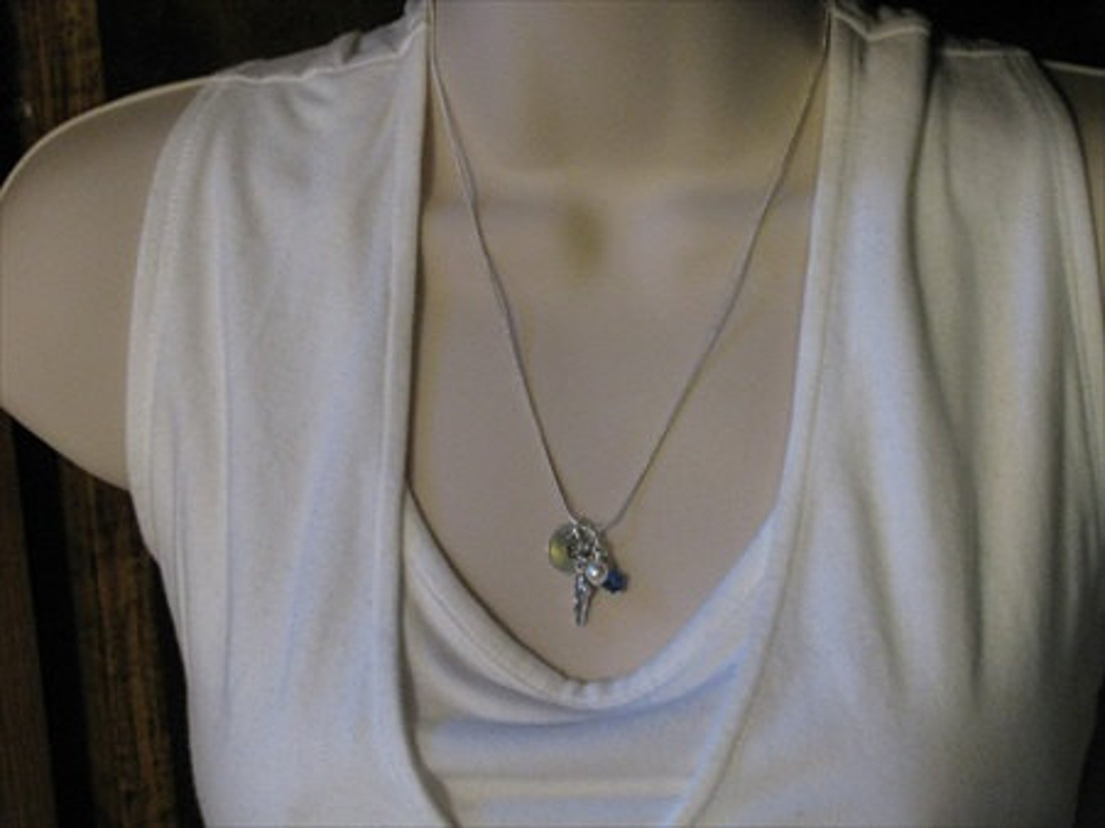 dancer necklace- ballet shoe charm, initial of your choice and an accent bead of your choice