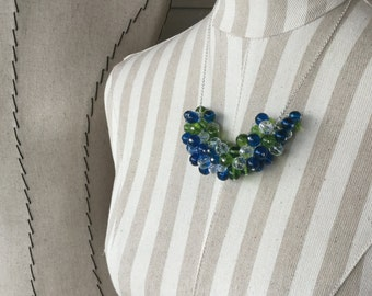 Blue, Green Statement Necklace- Beaded Cluster Necklace in Blue, Green, and Clear - Unique Beaded Statement Necklace- only 1 available