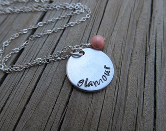 """Glamour Inspiration Necklace- """"glamour"""" with an accent bead of your choice- Hand-Stamped Necklace by Jenn's Handmade Jewelry"""