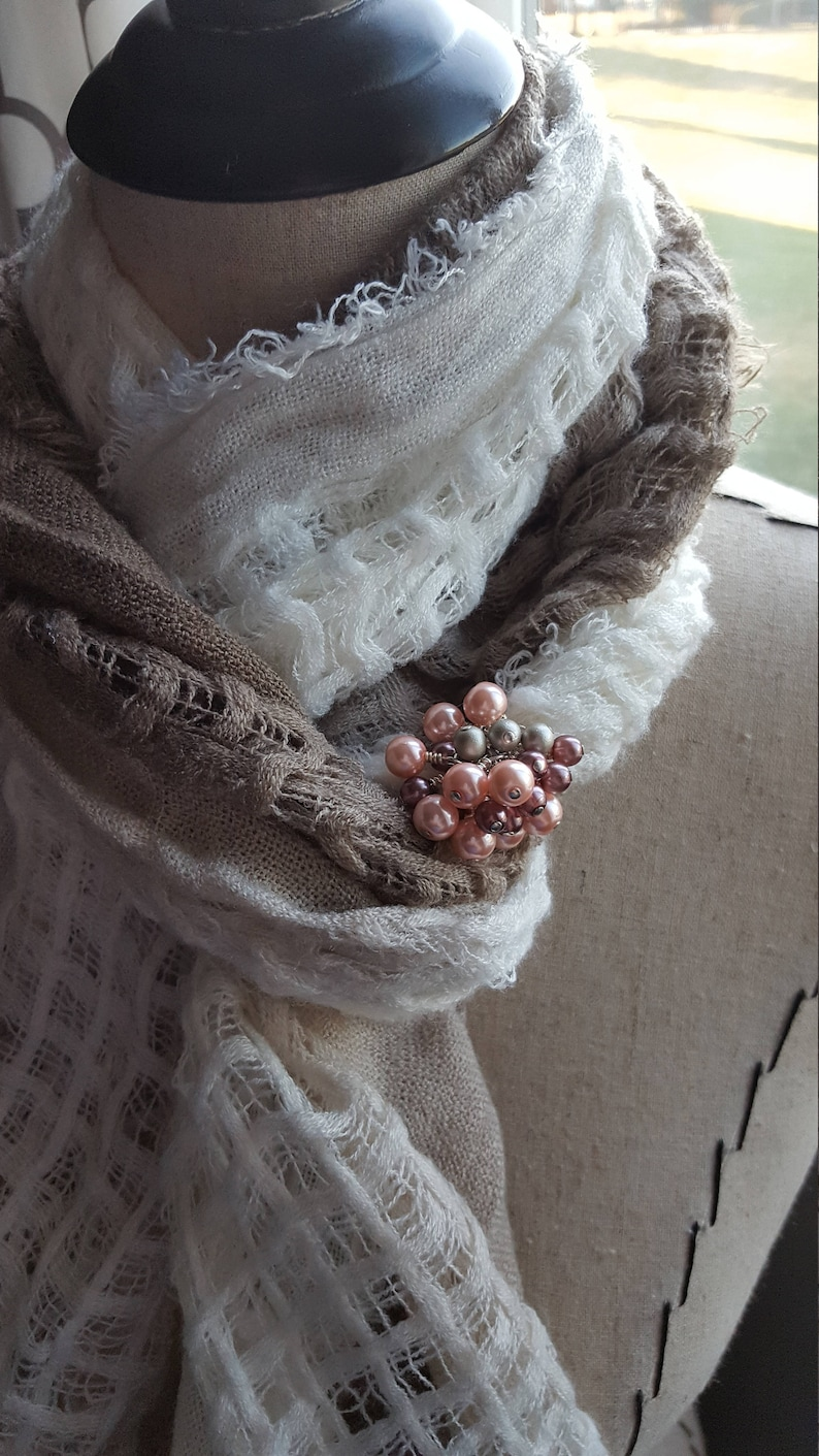 dusty pink-colored cluster beaded Scarf Bling Decoration Cluster Beaded Scarf Accessory