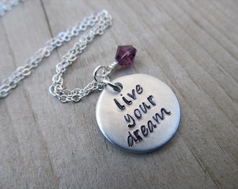"Graduation Necklace, Inspiration Necklace- ""live your dream"" with an accent bead in your choice of colors- Hand-Stamped Jewelry"