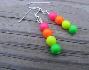 Neon Beaded Earrings- Green, Yellow, Orange, Pink