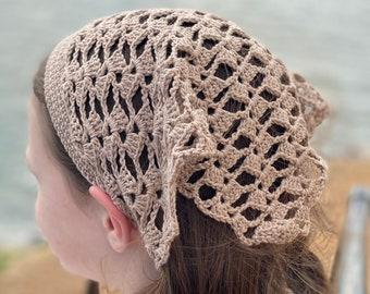 PDF File, Crochet Pattern for a Lacy Hair Kerchief