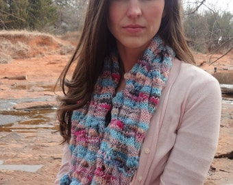 """Knit pattern: cabled infinity scarf in thick-and-thin yarn. """"Coral Current Cowl"""""""