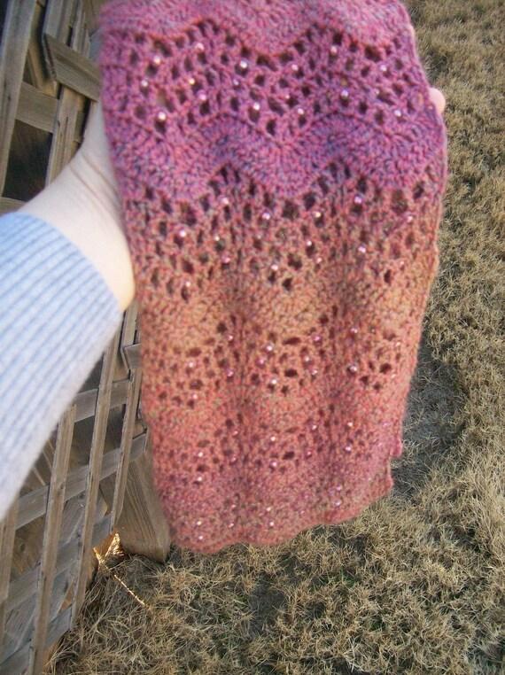 Crochet Pattern Pdf File Beaded Scarf Roserock Etsy