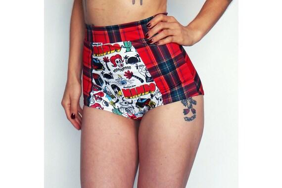 8d00c1f755 Red Plaid High Waist Bikini Bottom | Etsy