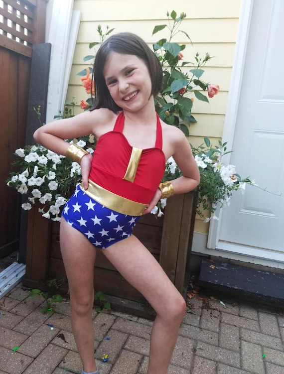 3bdbb6fb58 Wonder Woman Mini Girls One Piece Halter Swimsuit