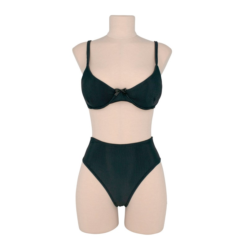 Black Rib  High Waist High Cut Let Bikini Bottom