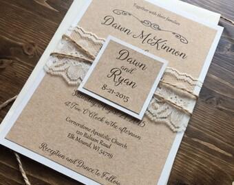 rustic wedding invitation vintage wedding invitation lace wedding invitations barn wedding invitation country wedding invitations