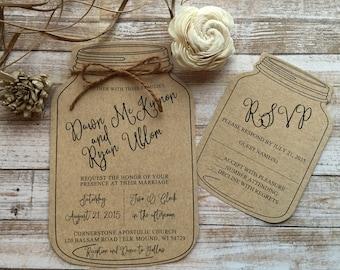 Mason jar wedding invitations Etsy