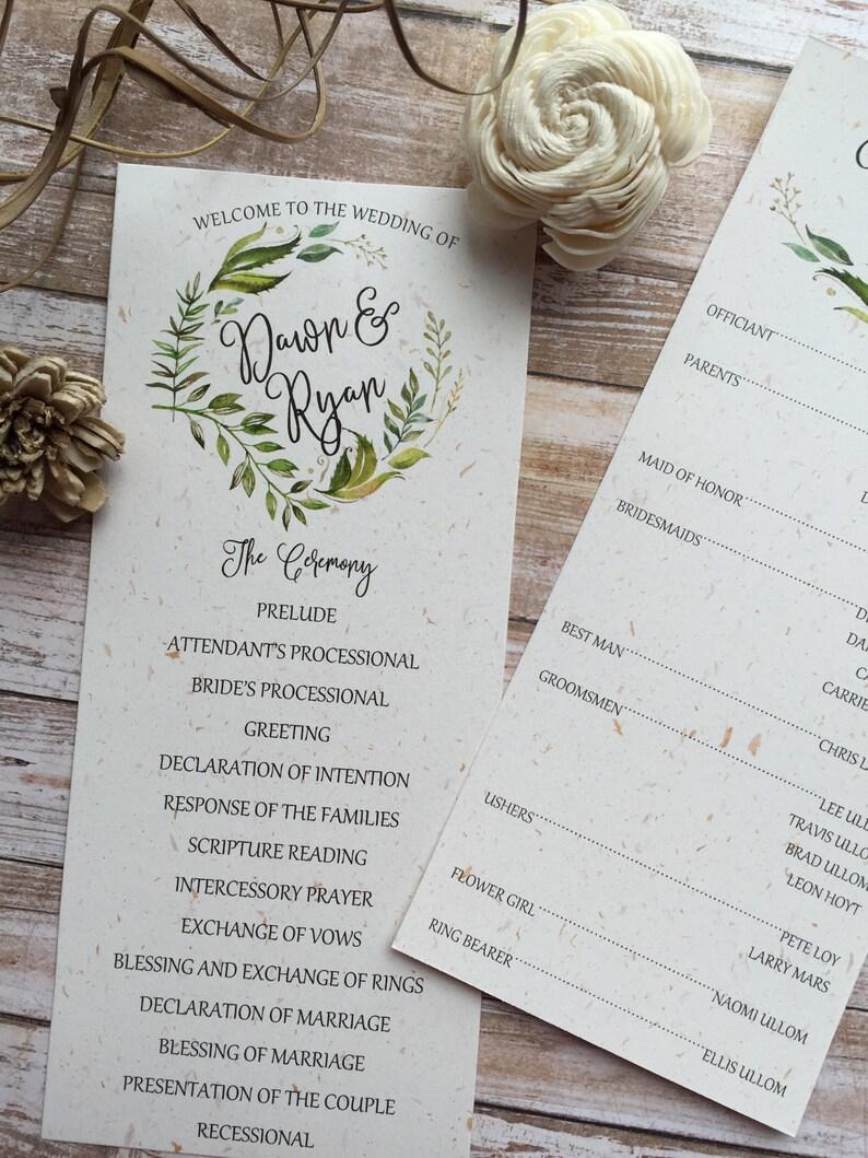 Rustic Wedding Program Leafy Wreath Wedding Program Kraft Wedding Program Laurel Wedding Program Country Wedding Program