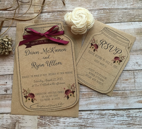 Rustic Wedding Invitation Mason Jar Wedding Invitation Shabby Chic Wedding Invitation Barn Wedding Invitation Country Wedding