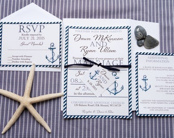 Nautical Wedding Invitation, Beach Wedding Invitation, Destination Wedding Invitation, Anchor Wedding Invitation, Modern Wedding Invitation
