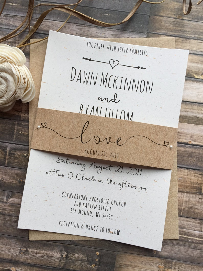 Rustic Wedding Invitation Whimsical Wedding Invitation image 0