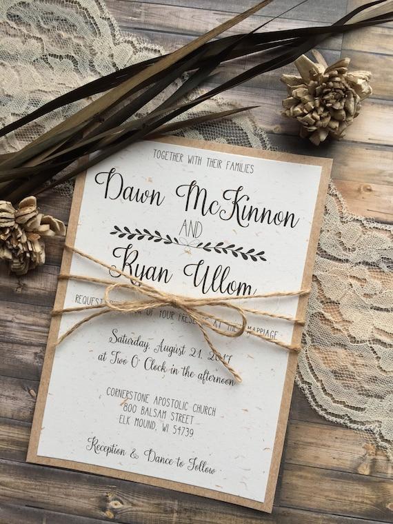 Rustic Wedding Invitation Vintage Wedding Invitation Elegant  Etsy