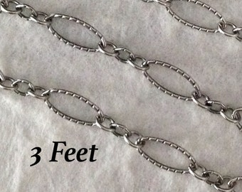 Sterling Silver OXIDIZED Textured Chain -  Long - Short -  Large Link Footage - Unfinished Necklace Chain 3 Feet Oakhill Silver  CH15 - 3