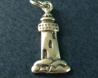 Nautical Pendant Vintage Silver Tone Lighthouse Charm by FORT