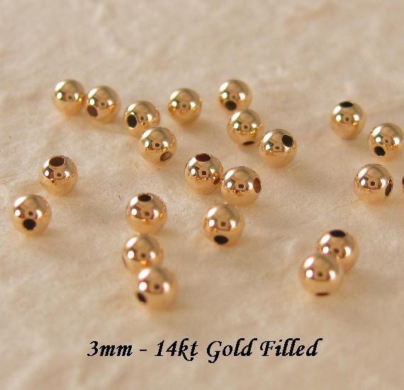3mm 14k gf STARDUST Beads pkg 25