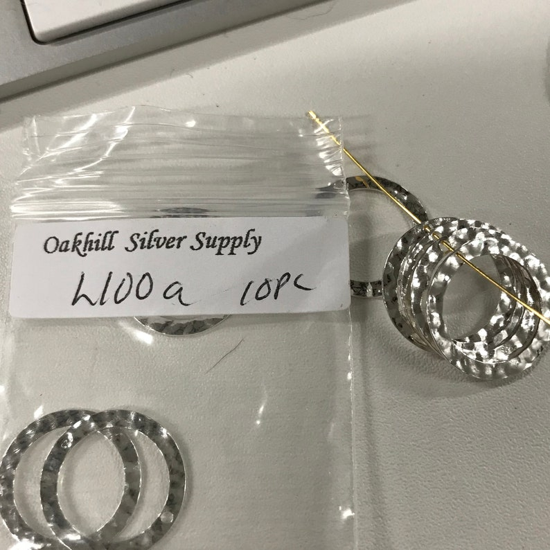Textured Round Charm Earring Hoops w Top Hole 2 Sterling Silver Links 17.6mm Shiny Pendant Ring Hammered Circle Connectors L100