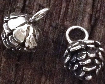 Sterling Silver Pinecone Charms - 2 Small  Natural Woodland Jewelry Findings C233