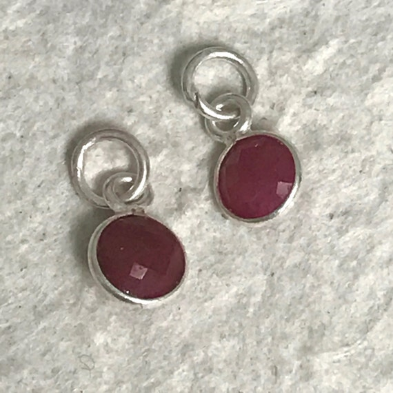 July Birthstone Hand Wrapped in Sterling Silver Red Ruby Add A Charm
