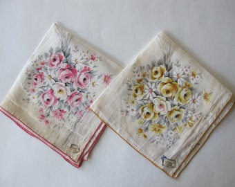 2 Vintage Burmel As Seen in Vogue Hankies Handkerchiefs All Linen Rose Design Pink Yellow Unused