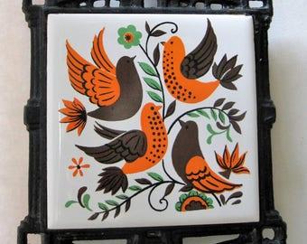 Vintage  Ceramic and Cast Trivet  - 1970s - Bird and Flower Design - Orange Brown White Green - Mod Retro Vintage Kitchen